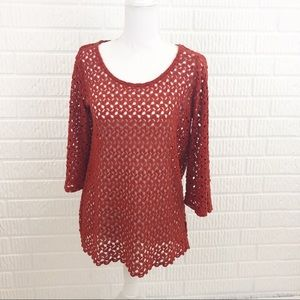 Forever 21 maroon open knit sweater